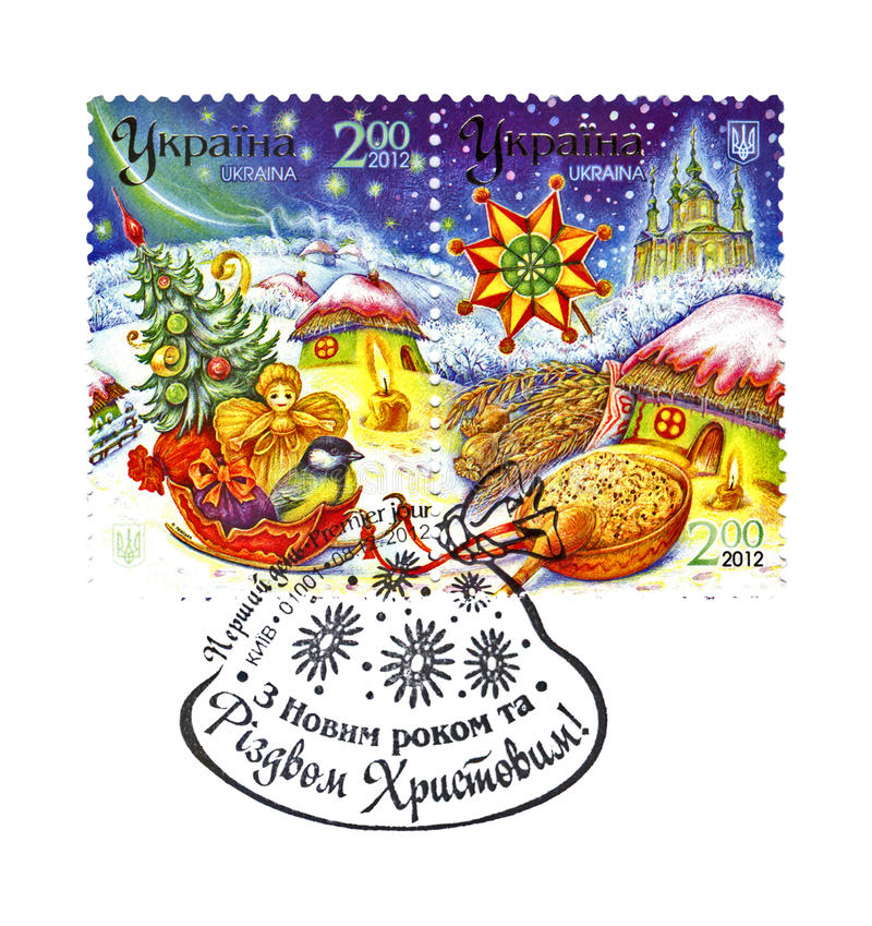 Happy New Year and Merry Christmas, Ukraine, circa 2012, royalty free stock photography