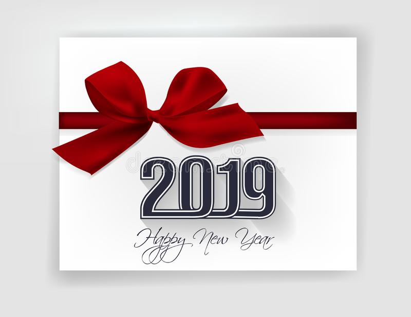 Happy new year 2019 and Merry Christmas stock illustration