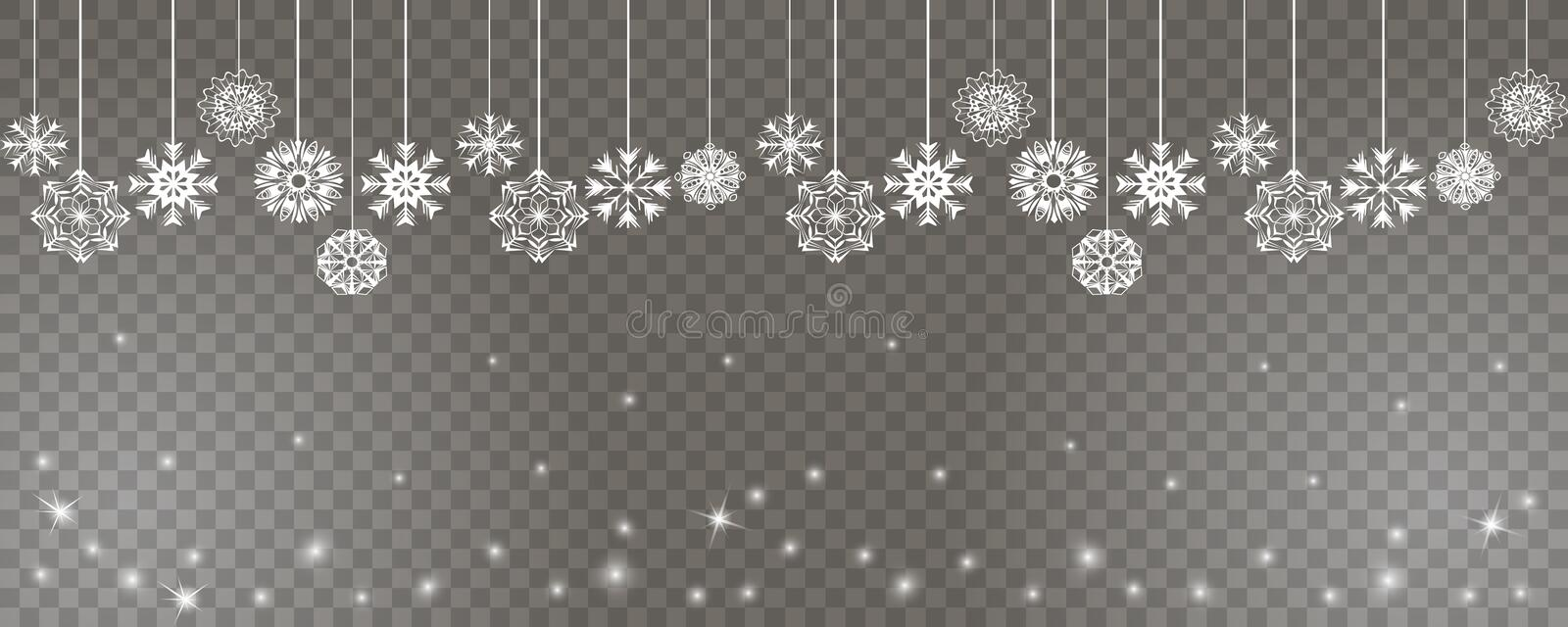 Happy new year and Merry Christmas backdrop with white snowflakes on strings on a transparent background vector illustration
