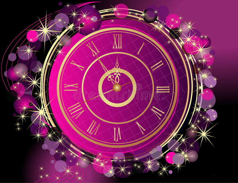 Happy New Year and Merry Christmas background with clock vector illustration