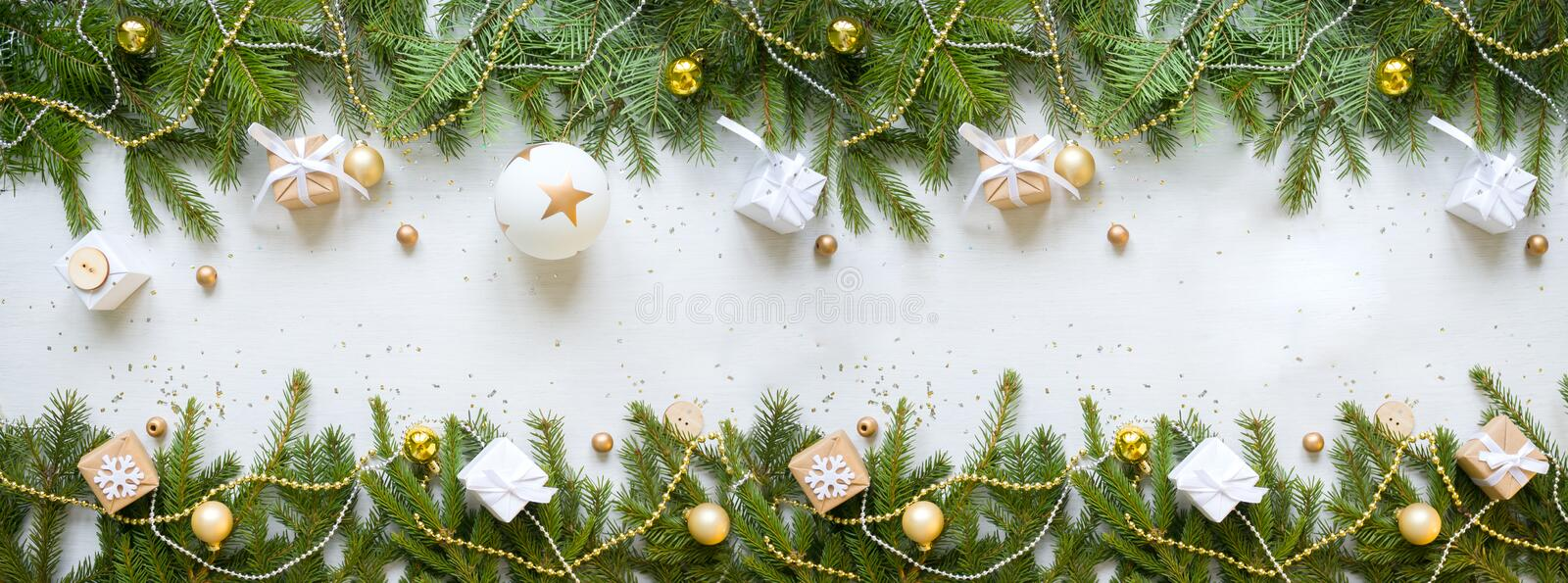 Happy new year and Merry Christmas. Background. Merry Christmas and Happy New Year. Christmas Decorative Ornate Fir Glitter Natural Gifts on white Background stock photography