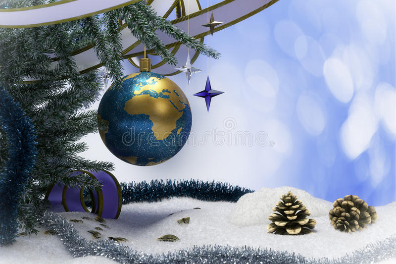 Happy New Year and Merry Christmas background with earth. Happy New Year and Merry Christmas background with snow and christmas tree decorations royalty free stock photo
