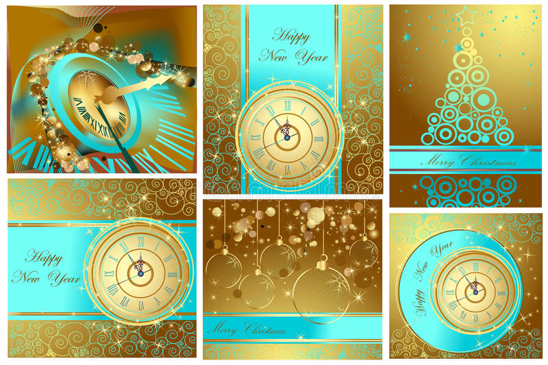 Happy New Year and Merry Christmas backgrounds royalty free illustration