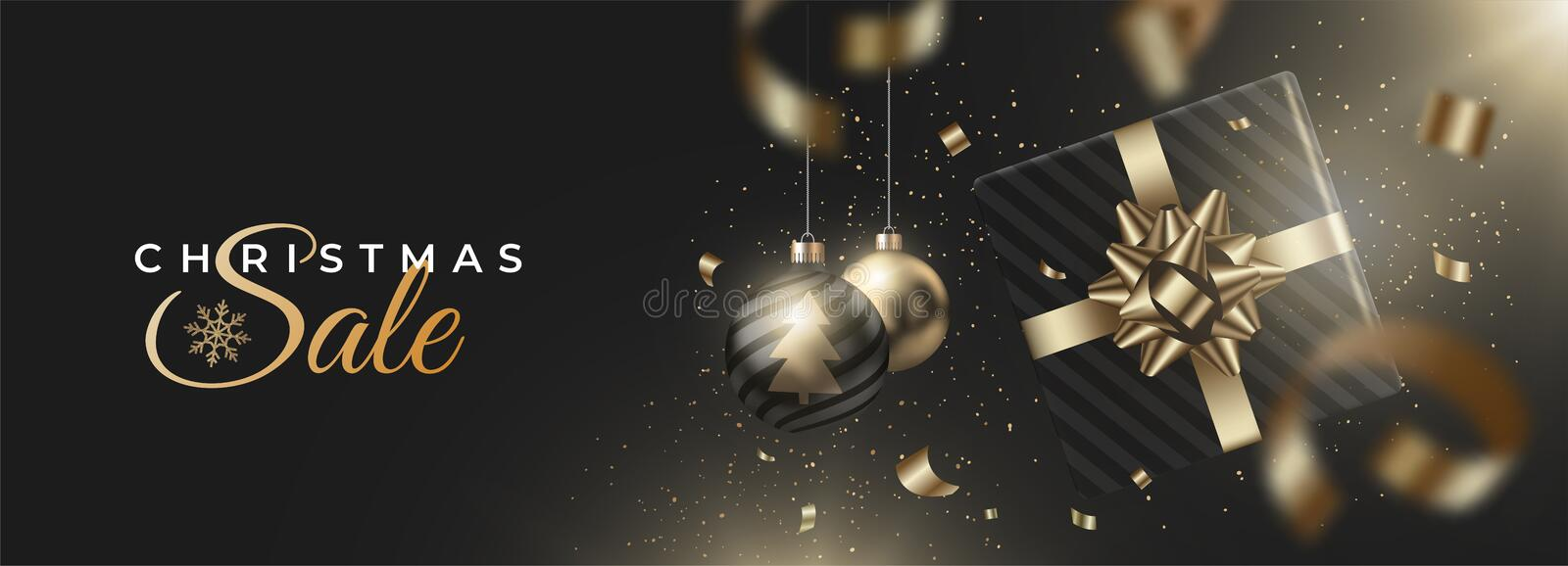 Happy New Year and Merry Christmas banner with balls and gifts, tinsel on dark background. Season winter. royalty free stock photos