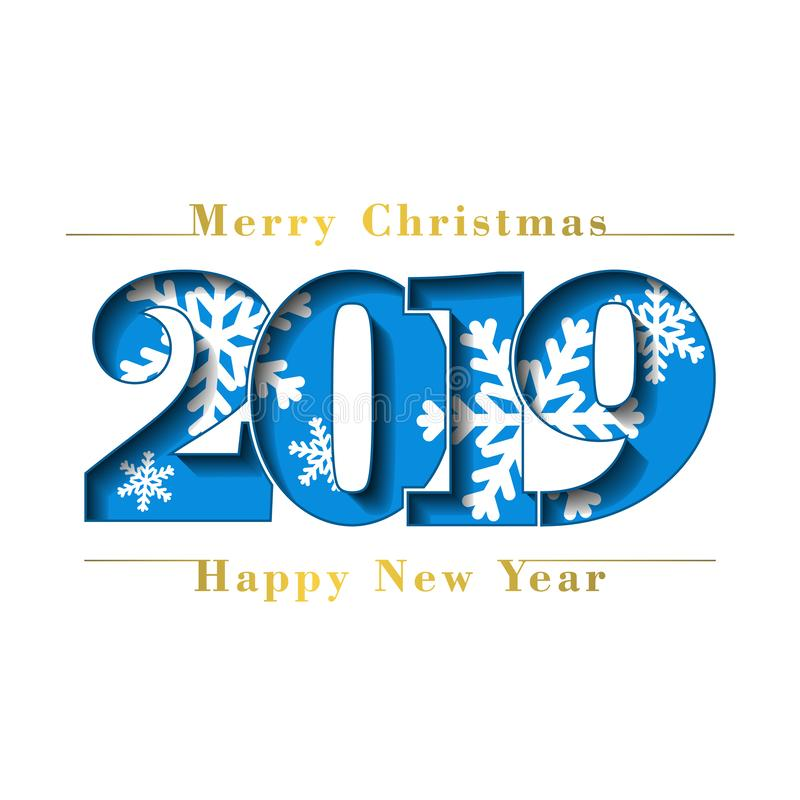 Happy new year Merry Christmas card. Blue number 2019 with snowflakes, isolated white background. Gold texture. Bright vector illustration