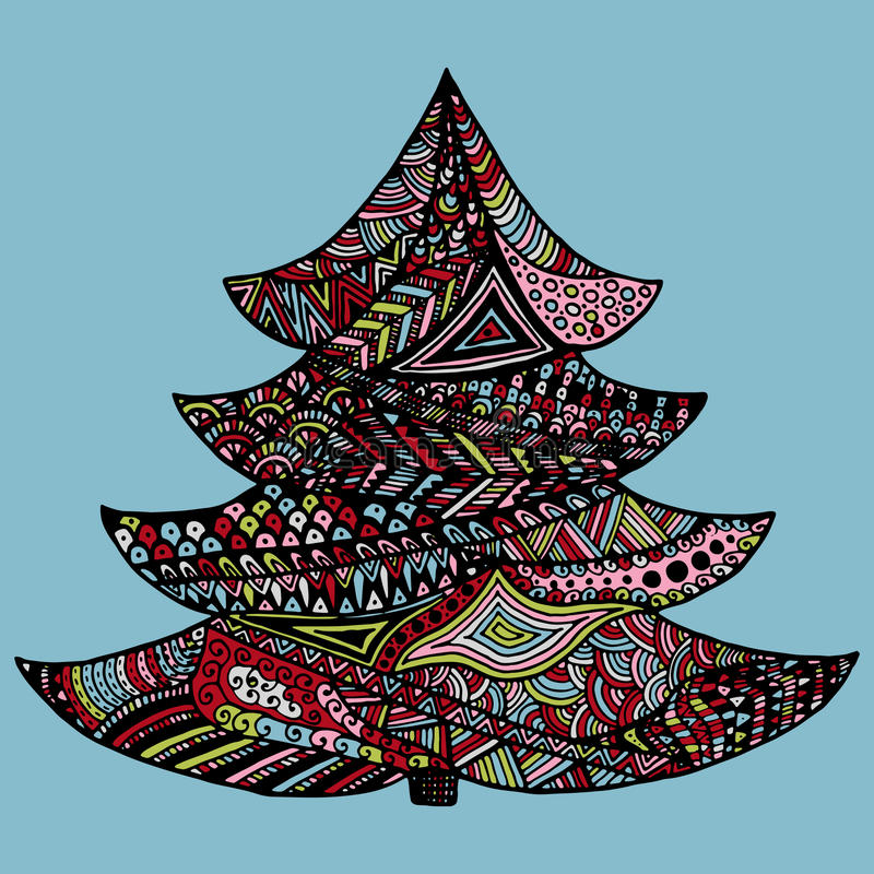 Happy new year and merry christmas card. Colored Christmas tree in zentangle style, on colorful background royalty free illustration