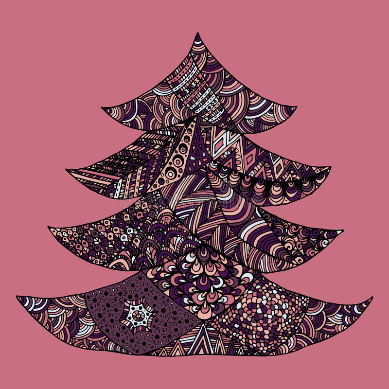 Happy new year and merry christmas card. Colored Christmas tree in zentangle style, on colorful background stock illustration