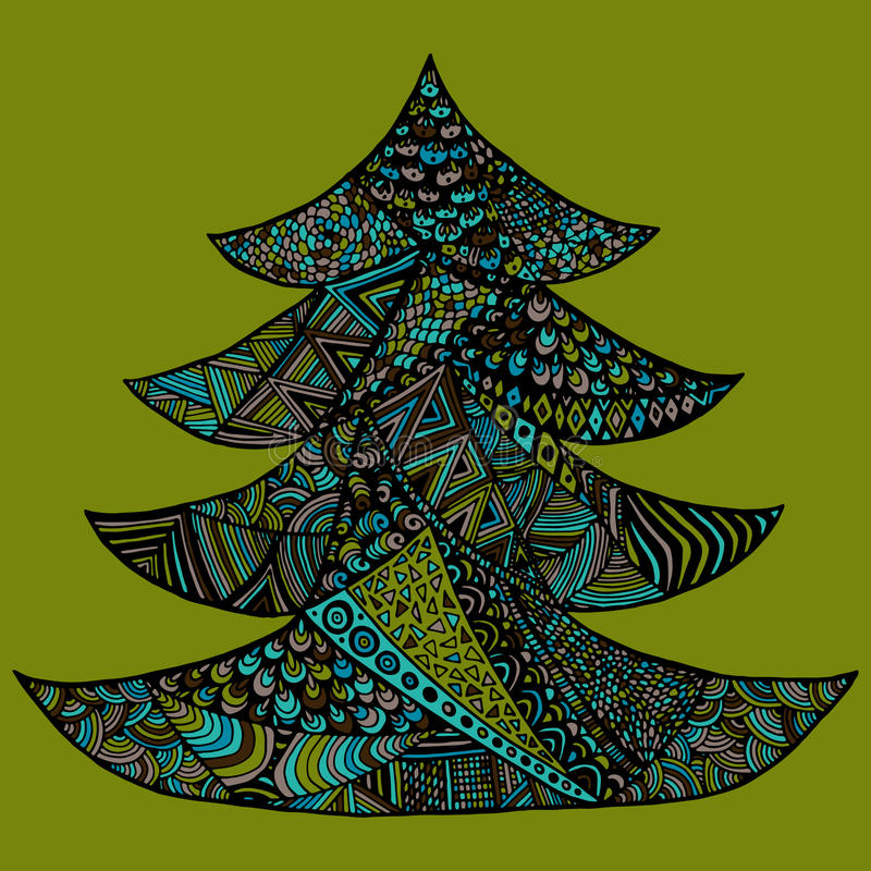 Happy new year and merry christmas card. Colored Christmas tree in zentangle style, isolated on colorful background stock illustration