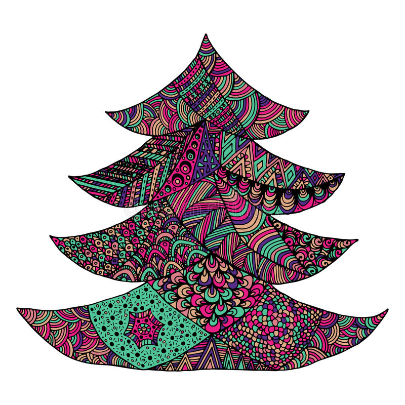 Happy new year and merry christmas card. Colored Christmas tree in zentangle style. isolated on white background vector illustration