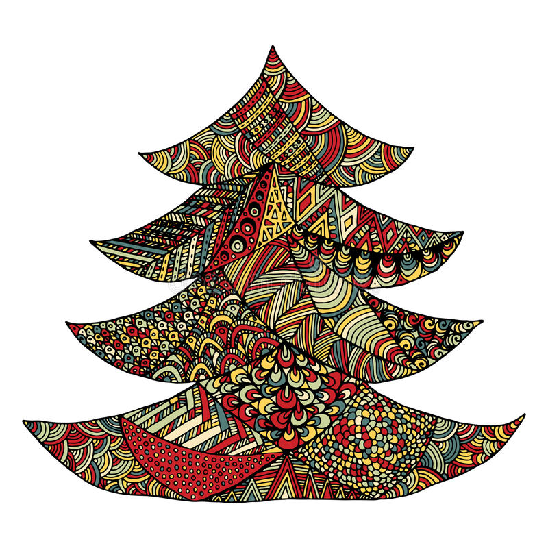 Happy new year and merry christmas card. Colored Christmas tree in zentangle style. isolated on white background stock illustration
