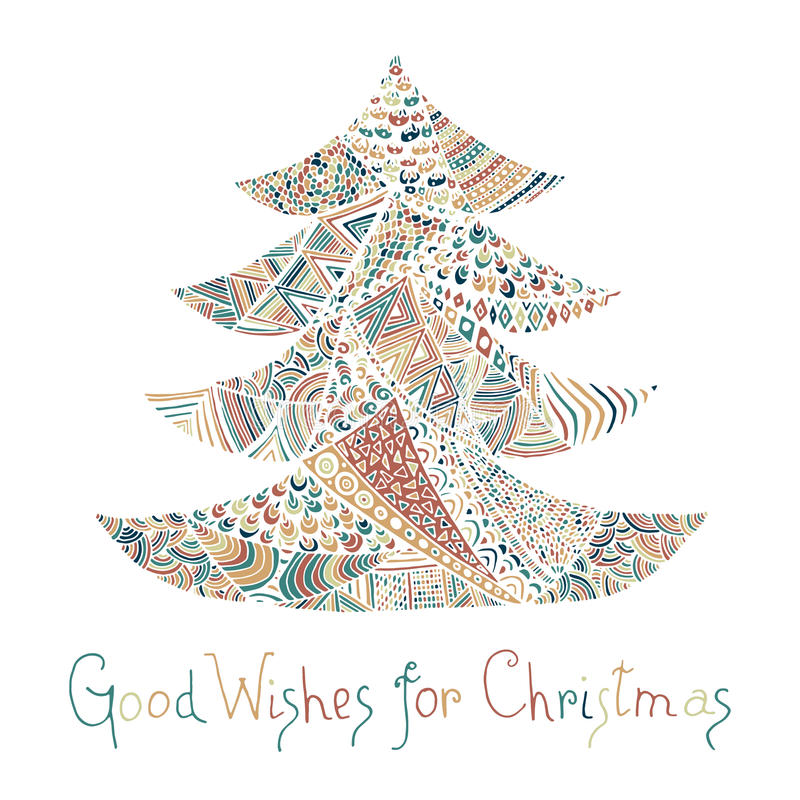 Happy new year and merry christmas card. Colored Christmas tree in zentangle style with lettering stock illustration