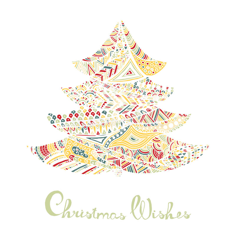 Happy new year and merry christmas card. Colored Christmas tree in zentangle style with lettering royalty free illustration