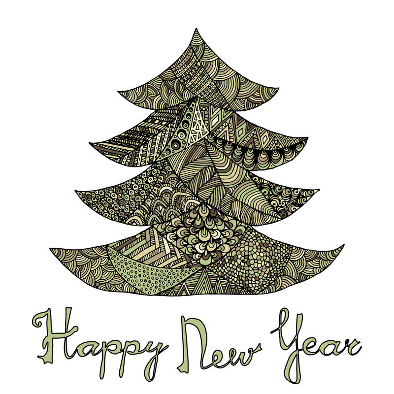 Happy new year and merry christmas card. Colored Christmas tree in zentangle style with lettering vector illustration