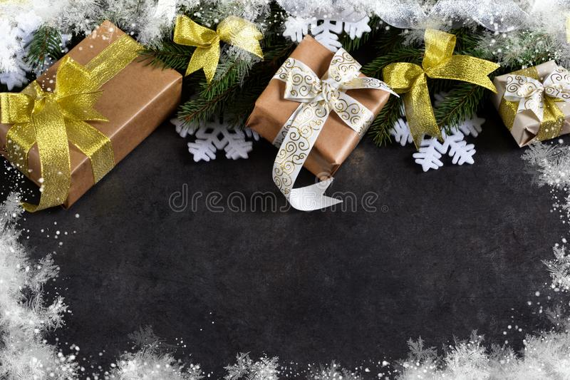 Happy New Year and Merry Christmas. Christmas boxes with gifts royalty free stock photo