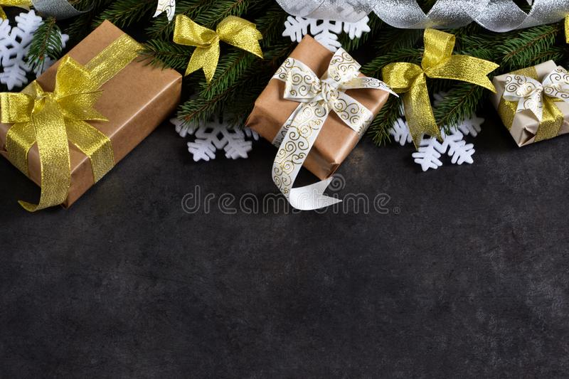 Happy New Year and Merry Christmas. Christmas boxes with gifts stock images