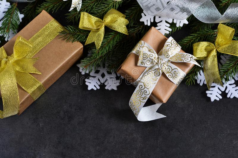 Happy New Year and Merry Christmas. Christmas boxes with gifts stock photos
