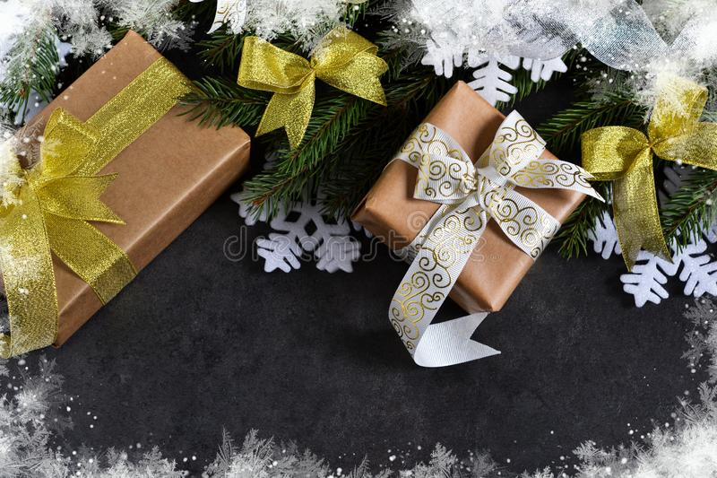 Happy New Year and Merry Christmas. Christmas boxes with gifts w royalty free stock image