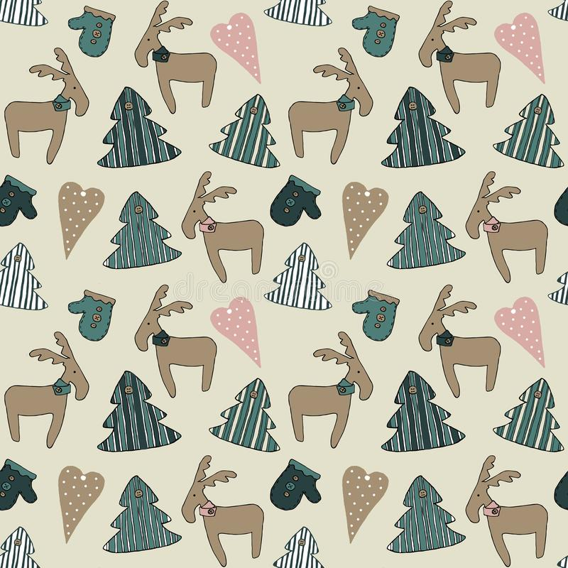 Happy New Year and Merry Christmas . Christmas season hand drawn seamless pattern. stock illustration