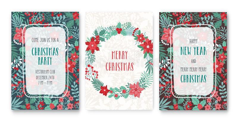 Happy New Year and Merry Christmas. Collection of festive greeting card or party invitation templates with traditional royalty free illustration