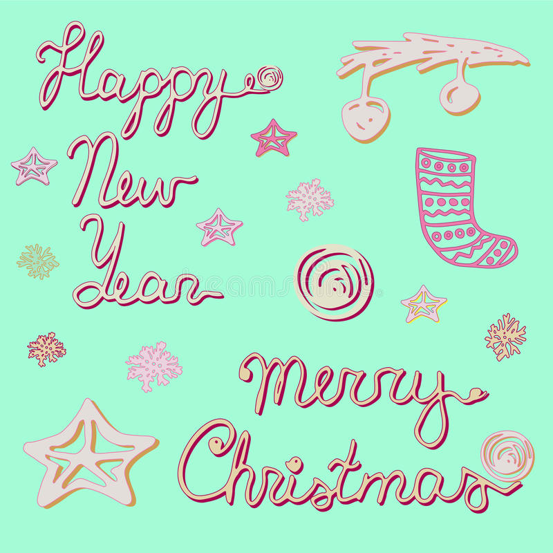Happy New Year and Merry Christmas collection. Hand drawn words, tree branch, xmas balls, snowflakes, gift, garland and christmas stocking royalty free illustration