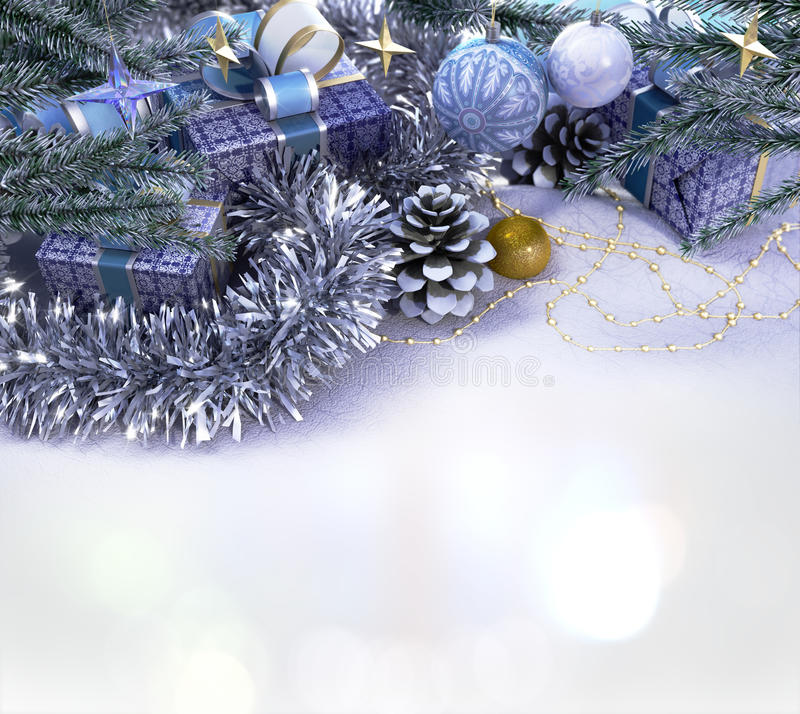 Happy New Year and Merry Christmas composition. Happy New Year and Merry Christmas decorative composition with place for you text royalty free stock photos
