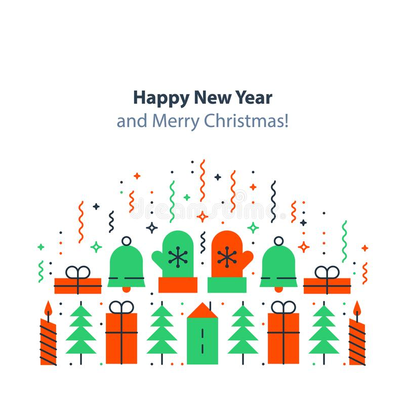 New year decoration element, winter holidays background, Christmas celebration, festive postcard, vector flat illustration stock illustration
