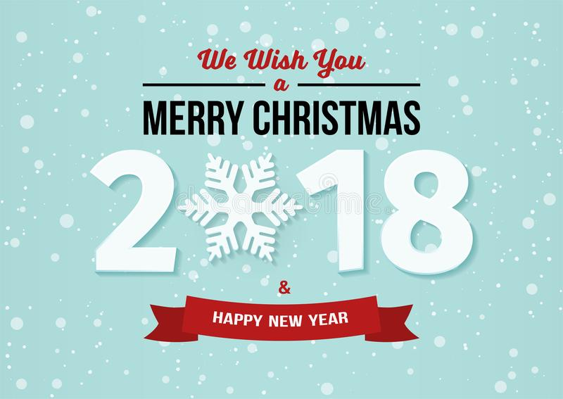 Happy New Year 2018 and Merry Christmas design with snowflake and ribbon on the light blue winter background with falling snow. royalty free illustration