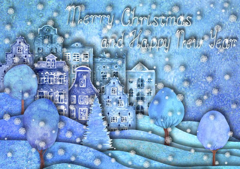 Happy new year and Merry christmas design. Watercolour hand drawn hills, houses, trees, snowflakes royalty free illustration