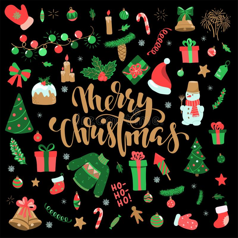 Happy New Year and Merry Christmas doodle set. Collection of xmas elements for design holiday greeting cards and invitations of stock illustration