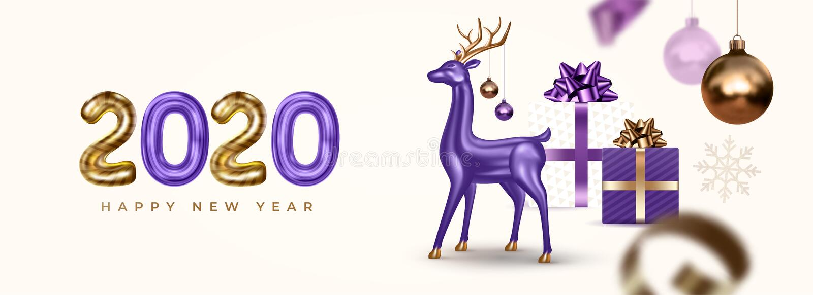 Happy New Year and Merry Christmas. Festive banner with realistic 3d glass deer, Xmas balls and gifts. stock photos