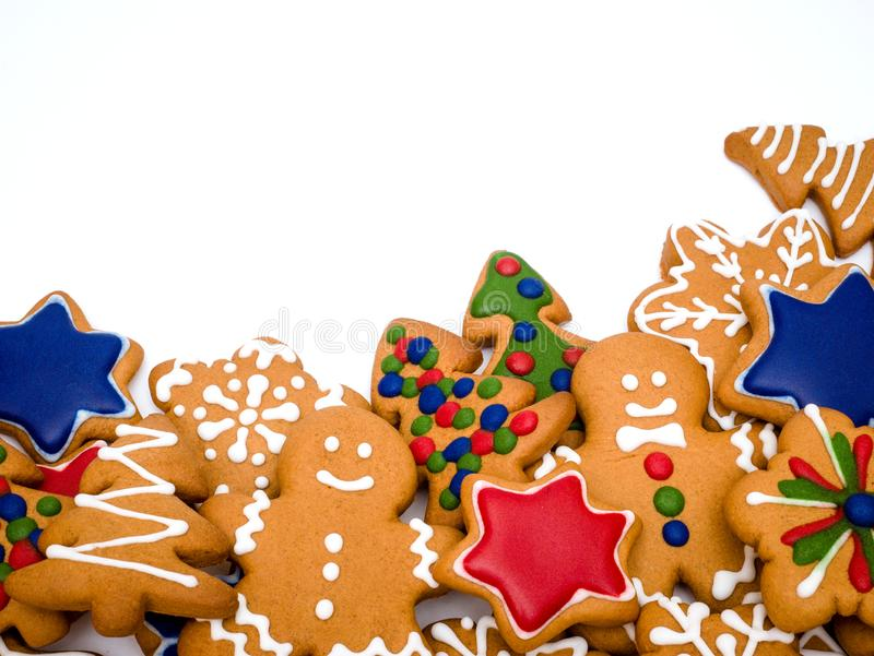 Happy New Year and Merry Christmas gingerbread white background. Christmas baking. Making gingerbread christmas cookies. Christm. Happy New Year and Merry stock image