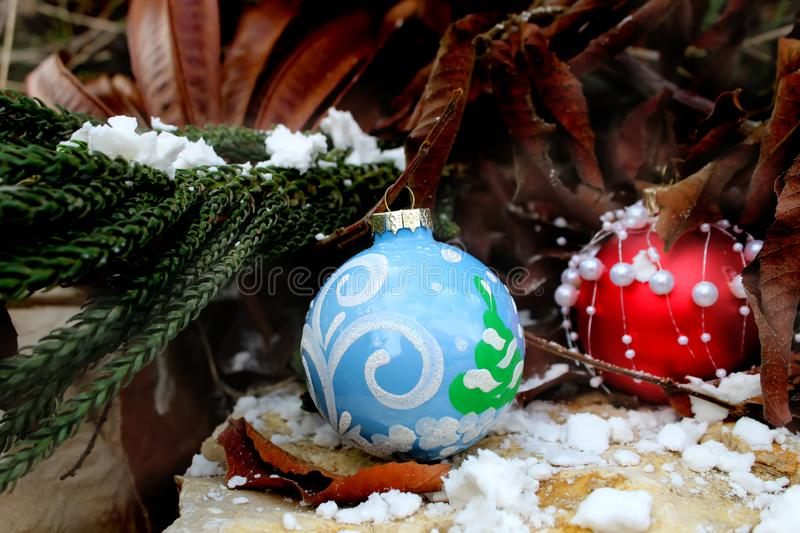 Happy New Year or Merry Christmas greeting card. Christmas balls royalty free stock photos