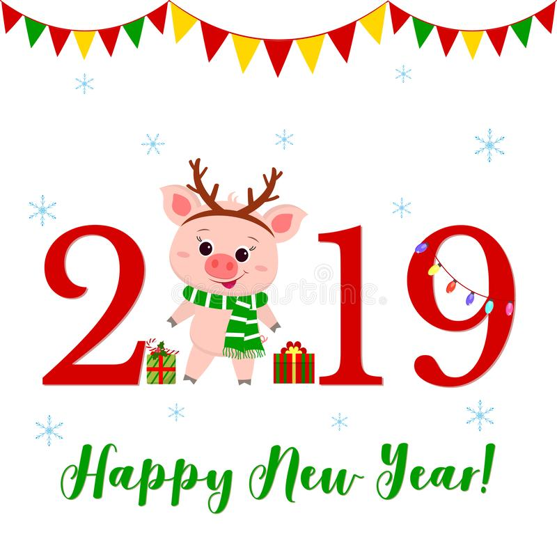 Happy New Year and Merry Christmas greeting card. Cute pig in deer horns and a striped scarf. The symbol of the new year vector illustration
