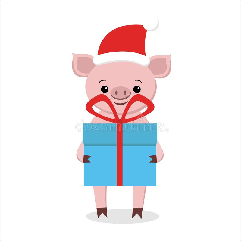 Happy New Year and Merry Christmas Greeting Card. Cute pig in santa hat holding a gift. It is on the box with a gift vector illustration