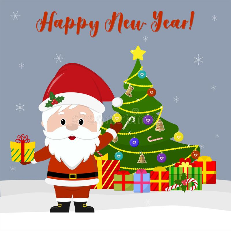 Happy New Year and Merry Christmas Greeting Card. Cute Santa Claus holds a gift, next to the Christmas tree and boxes with gifts i stock illustration