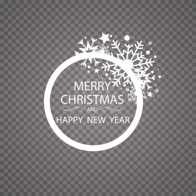 Happy New Year Merry Christmas greeting card golden glitter decoration. greeting card ornament of circle and text vector illustration