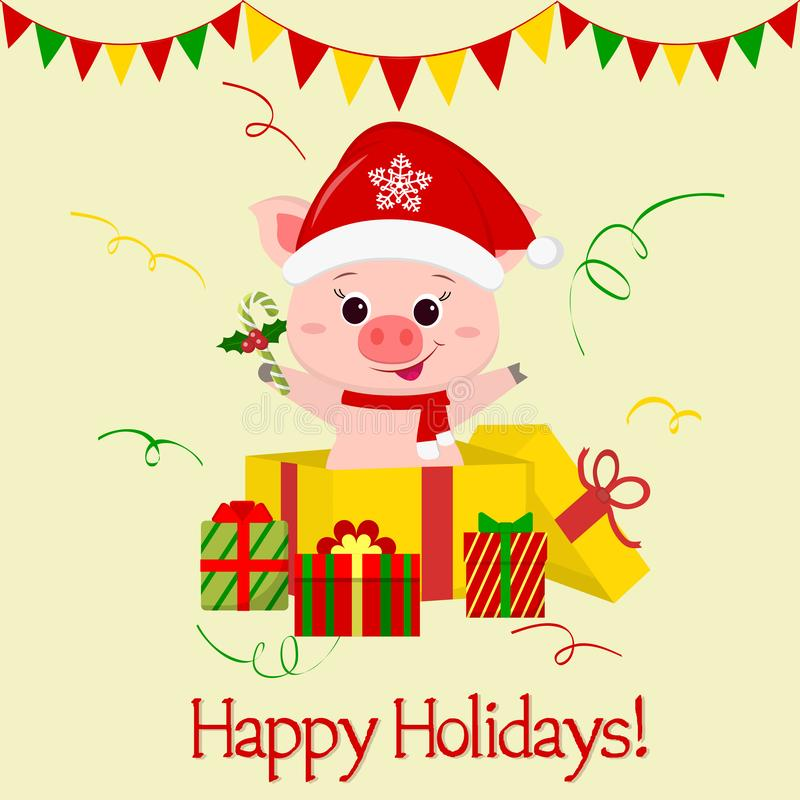 Happy New Year and Merry Christmas greeting card. A merry pig in Santa s cap and scarf, stands in a gift box and holds a vector illustration
