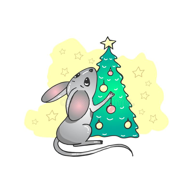 Happy New Year and Merry Christmas greeting card. Rat or mouse with gifts. Funny cartoon characters. Christmas tree stock illustration