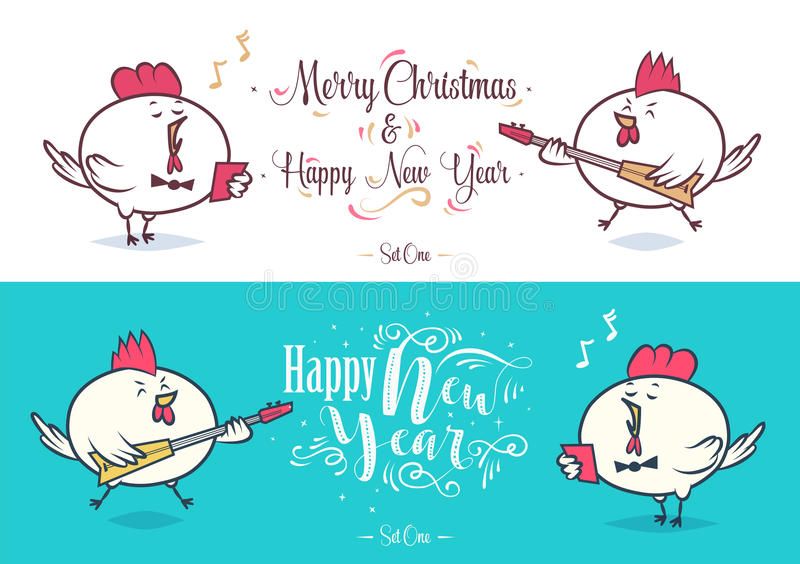 Happy New Year and merry christmas. Holiday Vector Illustration. royalty free illustration
