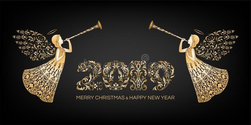 Happy New Year, Merry Christmas horizontal banner vector illustration