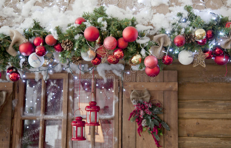 Happy New Year and Merry Christmas interior scene with frost win. Dow royalty free stock images