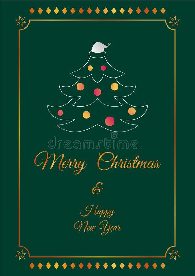 X`mas tree silver green card royalty free stock images