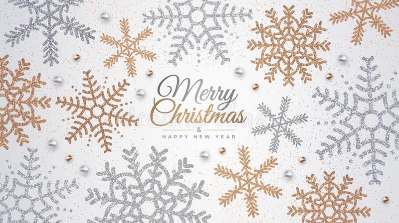 Happy New Year and Merry Christmas. Realistic background with golden and silver snowflakes. stock image