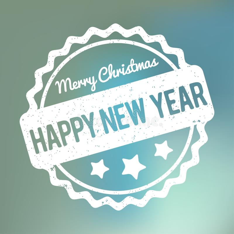 Happy New Year Merry Christmas rubber stamp award vector white on a blue bokeh background vector illustration
