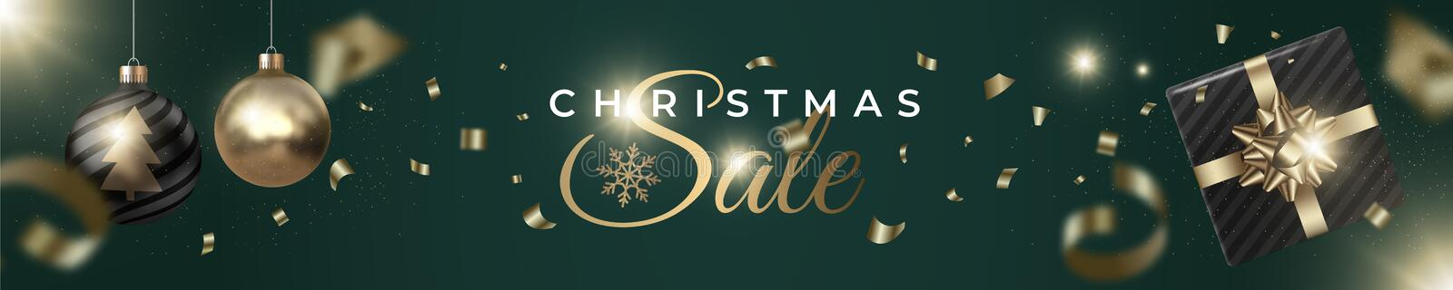 Happy New Year and Merry Christmas sale banner with balls and gifts, tinsel. Season winter. royalty free stock photos