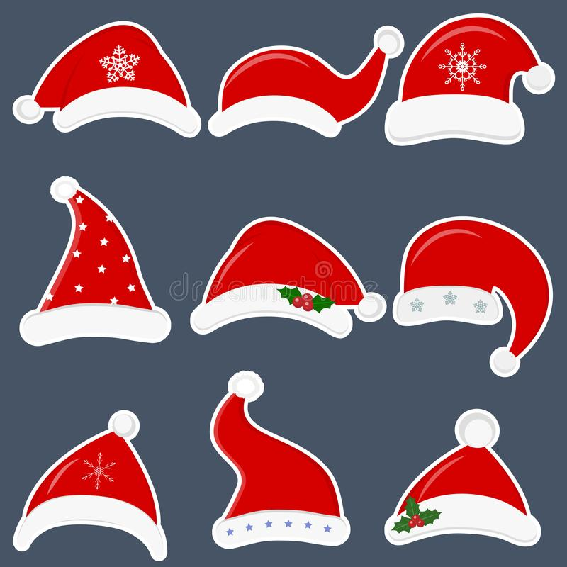Happy New Year and Merry Christmas. Set of nine different santa hats stickers with various accessories isolated on dark royalty free illustration