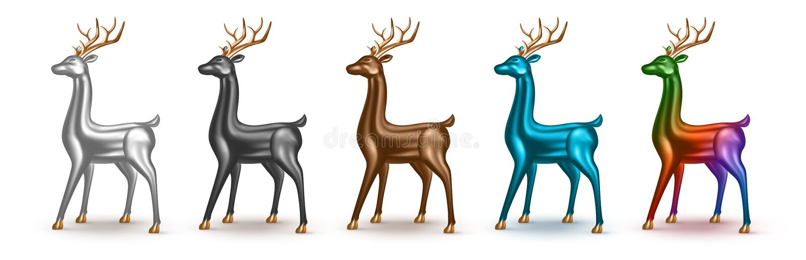Happy New Year and Merry Christmas. Set of realistic metallic 3d deer with different color. royalty free stock photography