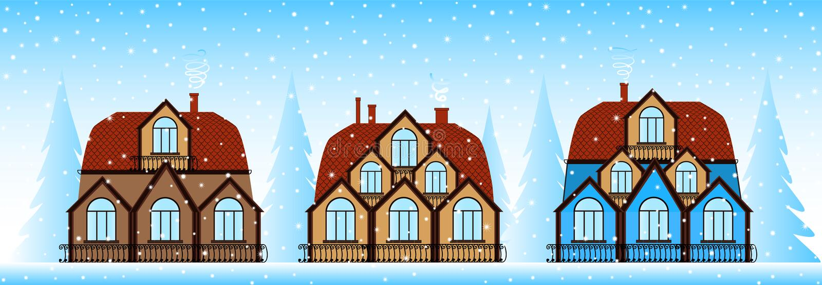 Happy New Year and Merry Christmas vector illustration with beautiful colorful houses at snowy street stock illustration
