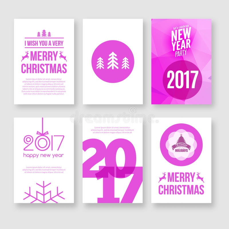 Happy new year 2017 and Merry Christmas vector modern brochure flyer design template with numbers. Set of Postcard, invitation. stock illustration
