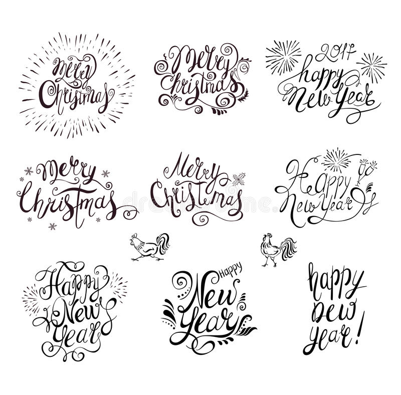 Happy New Year and Merry Christmas Vector Text . stock illustration